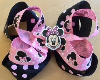 Minnie Mouse 2 layered black and polka polka dot bow