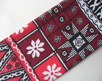 Authentic tropical tiki red black burgundy floral hawaiian shirt fabric midcentury vintage tribal tablecloth border print