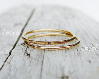 Gold rings, skinny rings, stacking ring set. 14k gold filled bands. Set of 2 rings.