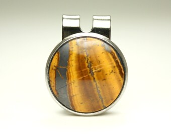Tiger Eye Inlayed, Magnetic Golf Ball Marker, Stone Inlayed
