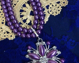 Beaded crystal necklace purple/silver/clear rhinestone
