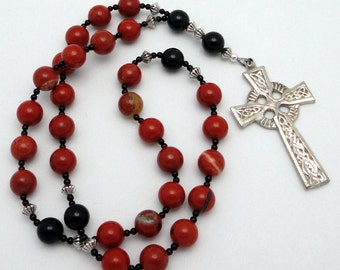 Protestant Prayer Beads / Anglican Rosary  in Red Jasper with Pewter Celtic Cross