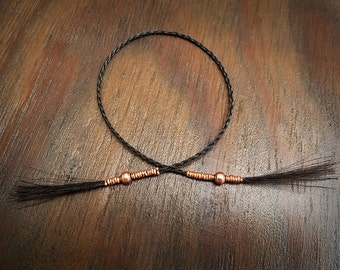 Horse Hair Bookmark with Copper and Brass Beads - Braided Horsehair