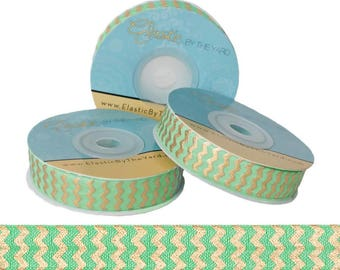 Lime with Gold Metallic Chevron - Fold Over Elastic - 5 YARDS