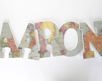Map Custom Wooden Letters, Nursery Name Décor, Neutral Unisex Bedroom, Hanging Wood Wall Decorations, Birthday Baby Shower Gift