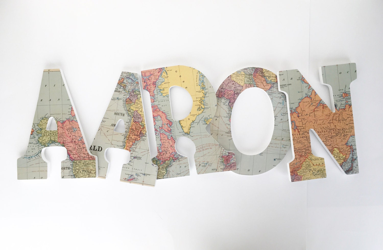 Map custom wooden letters nursery name decor neutral unisex for Babies r us wall letters