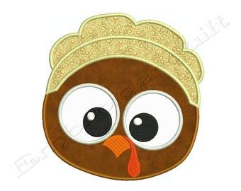 Thanksgiving TURKEY PILGRIM 1 Machine Applique Embroidery - Instant Digital Download