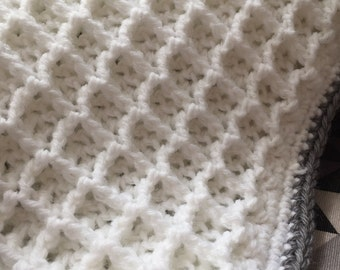 Crochet baby blanket - waffle pattern - ideal for new baby/christening or baby shower gift. MADE TO ORDER