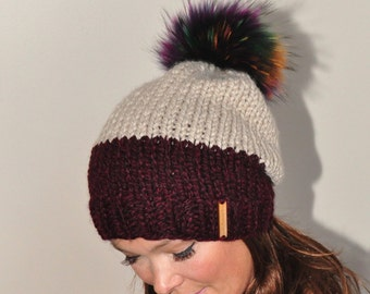 Fur Pompom Beanie Two Tone Slouchy Hat Women Hat Winter Hat CHOOSE COLORS Burgundy Taupe Chunky Knit Hat Christmas Gift