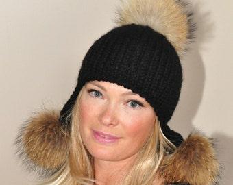 Pompom Hat Trapper Hat Black Aviator Trapper Hat with Fur Pom Poms CHOOSE COLOR SALE Ski Women Hat Christmas Gift under 100