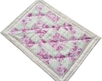 Quilted Table Runner, Barbie Quilt, Candle Mat or Table Topper Handmade Mini Quilt, Perfect for so many uses