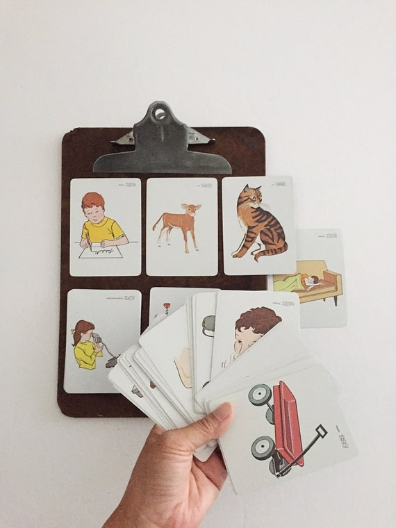 educational school picture word flash card set / vintage paper, craft / 63 cards
