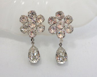 WEISS Crystal Dangle Earrings Signed