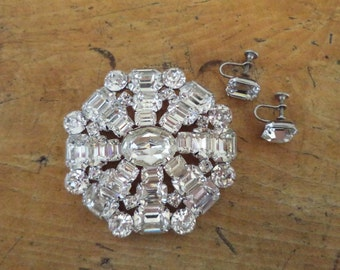 Large Signed WEISS Crystal Brooch and Earrings Set