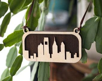 Philadelphia Skyline Ornament (Laser Cut Wood) Holiday Home Decor / Christmas Tree Gift