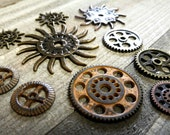 Clock Gears Clock Parts Clock Mechanism Brass Gears Rusty Metal Gears Steampunk Gears Assorted Gears 10 pieces