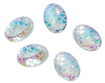 Mermaid Scale Cabochons 18x13 Clear Oval Cabochons Dragon Scale Cabochons Flat Back Embellishments 4 pieces