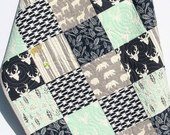 Baby Quilt Boy Mint Green Navy Blue Grey Gray Elk Deer Woodlands Birch Forest Buck Blanket Bear Aztec Crib Bedding Children Baby Toddler