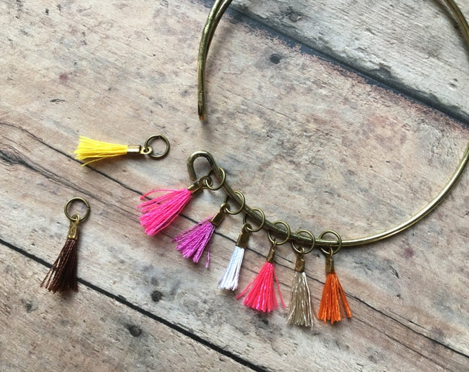 Stitch Marker Bracelet - Pink & Orange Tassels