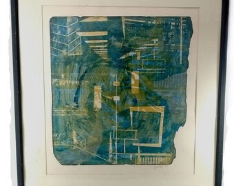 Vintage Artist Jeff Millikan Minnesota Native Mid Century Fine Art Original 1/1 Printmaking Abstract In Cobalt Blue Tan