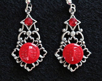 Vintage Glass Button Earrings, Silver Filigree Assemblage, Red, Recycled, Pierced Glass Hook Unique Reclaimed Jennifer Jones, OOAK - Passion