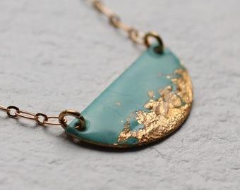 Art Deco Enamel Necklaces ... Seafoam Turquoise Black Gold Copper