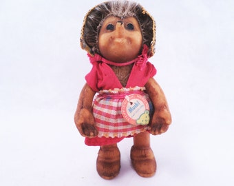 Steiff Mucki Hedgehog Girl Doll w/ Leather Bonnet Vintage 50s