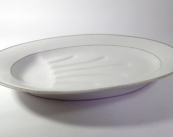 Very Large Antique Porcelain Platter Large Old-Fashioned, Heavy with Gravy Well
