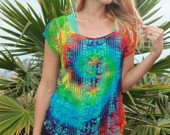 Tie Dye Crochet Top Coverup