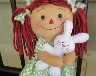 Mini RED haired raggedy with Easter bunny
