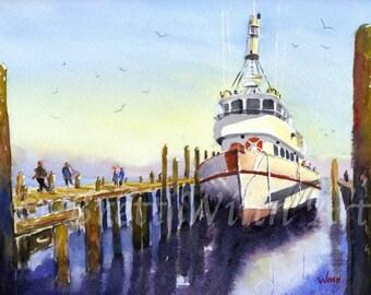 Pier Side Print, Printable Art, Pier Side Art, Home Decor, Boat, Watercolor, Wall decor, Instant Download