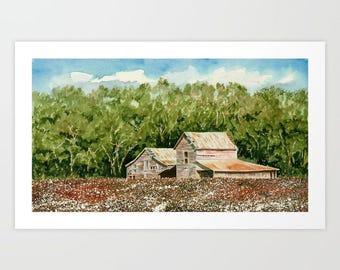 High Cotton Giclée Print, Barn Giclée, Home Decor, Watercolor Giclée, Wall decor