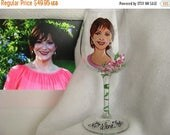 ON SALE Caricature Portrait Likeness ONE Hand Painted Wine Glasses  Ooak Personalized Glasses