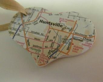 Huntsville, Alabama Heart Ornament -- Atlas, Upcycled
