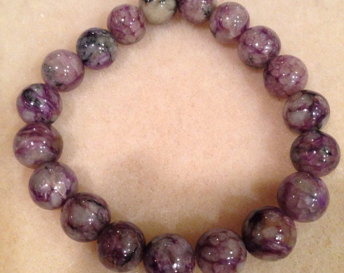 Charoite 10mm Round Stretch Bead Bracelet with Sterling Silver Accent