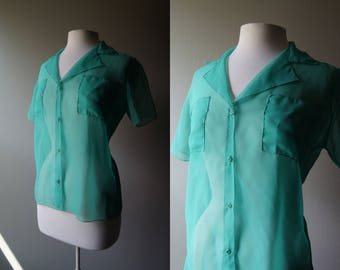 Vintage DUST SIMI Mint Green Button Down Top Sheer Top Opaque Blouse Green Top See Through Short Sleeve Boho Top Bohemian Medium Summer