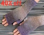 40% OFF Fingerless Gloves (Wrist Warmers, Fingerless Mittens, Fingerless Mitts) - Multicolor with violet