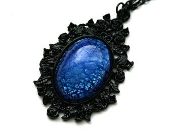 Sapphire Blue Opal Cameo Necklace