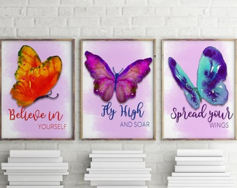 Butterfly Prints | wall art | Butterfly wall art | Set of 3