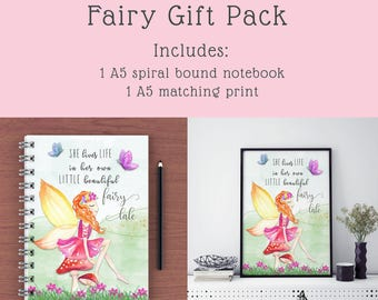 A5 Lined Notebook | A5 Notebook | Fairy Notebook | Childrens notebook | Inspirational notebook | Stationery | Stationery gift pack