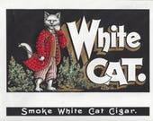 Vintage White Cat Embossed Original Lithograph Inner Cigar Label, 1890's