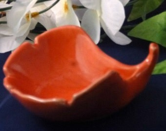 Vintage Orange Leaf-Shaped Trinket Dish, 1980s