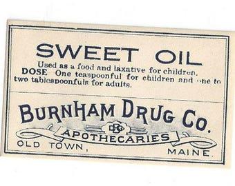 Vintage Pharmacy Medicine Label Sweet Oil Burnham Drug Co, 1920s