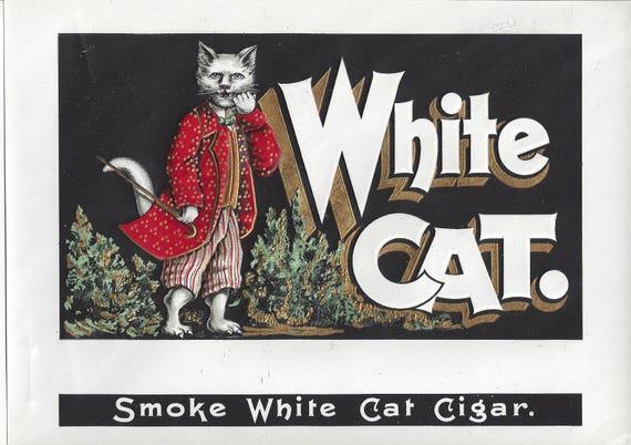 Vintage White Cat Embossed Original Lithograph Inner Cigar