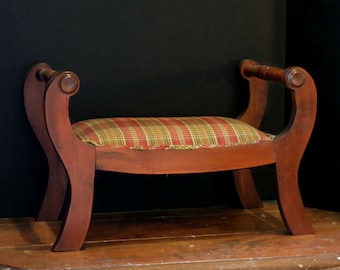 Vintage / Antique Wood Bench / Footstool / Kneeling Stool / SmallOttoman with Plaid Fabric and Welting