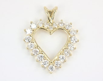 14K Heart Pendant, Yellow Gold Heart Pendant, Diamond Heart Pendant, Diamond Heart Necklace, Heart Necklace,Gold Heart,Diamond Cluster Heart