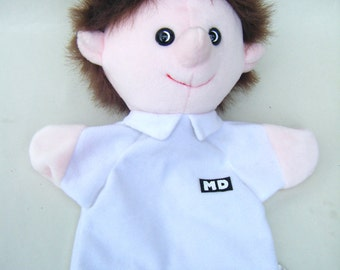 Vintage Medical Doctor MD Hand Puppet Plush Pups Toy Children Play Puppet Show Stuffed Kids Parenting Physician Pediatrician