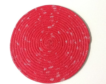 Red and White Coiled Rope Trivet, Fabric Hot Pad