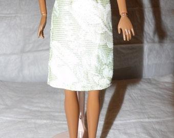 Fashion Doll Coordinates - Skirt in lite green & white floral Brocade print - es392
