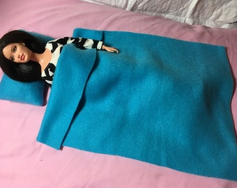 Teal blue Fleece pillow & blanket set for male and female Fashion Dolls - bsb19